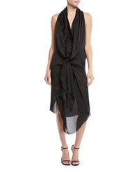 Urban Zen Sleeveless Tie Front Silk Charmeuse Scarf Dress Black