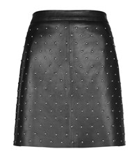 Set Studded Leather Skirt Female Black