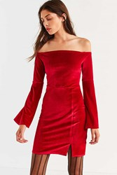 Urban Outfitters Uo Off The Shoulder Bell Sleeve Velvet Dress Red