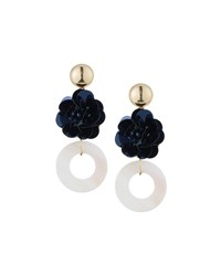 Romeo And Juliet Couture Flower Donut Drop Earrings Navy