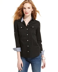Tommy Hilfiger Long Sleeve Button Front Shirt Deep Knit Black