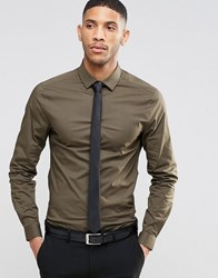 Asos Skinny Shirt In Khaki With Long Sleeves And Black Tie Set Save 15 Khaki Green