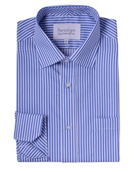 Double Two Cotton Micro Twill Stripe Shirt Blue