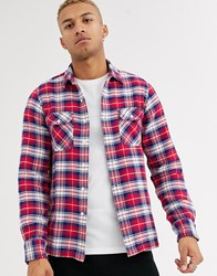 Replay Small Check Shirt In Red