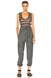 Etoile Isabel Marant Adrien Chambray Overalls In Gray