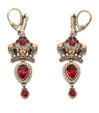 Alexander Mcqueen Twin Skull And Crown Earring Female Silver