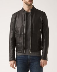 Ikks Black Zipped Rancho Leather Jacket