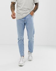 Bershka Slim Fit Jeans In Light Blue Blue
