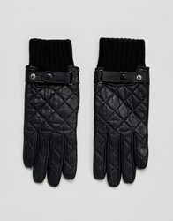 Paul Costelloe Quilted Leather Gloves In Black Black