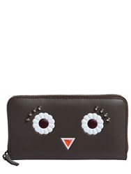 Fendi Faces Zip Around Leather Wallet