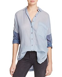 Free People Rainbow Rays Button Down Shirt Blue
