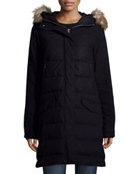 Sorel Tivoli Quilted Puffer Long Jacket W Faux Fur Collegiate Navy
