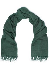 Chan Luu Woman Frayed Cashmere And Silk Blend Gauze Scarf Forest Green