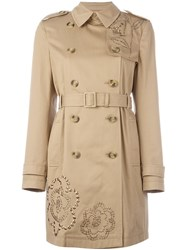 Red Valentino Embroidered Trench Coat Nude And Neutrals