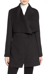 Laundry By Shelli Segal Petite Women's Double Face Drape Collar Coat Black