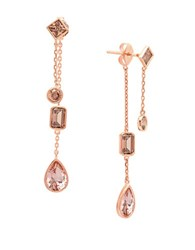 Crislu Blush Cubic Zirconia 18K Rose Gold And Sterling Silver Drop Earrings