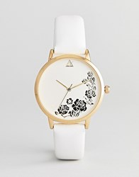 Asos Design Engraved Floral Watch White