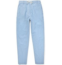 Maison Kitsune Cotton Chambray Drawstring Trousers Blue
