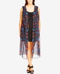City Chic Plus Size Sheer Floral Print Kimono Black