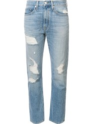 Brock Collection Distressed Slim Straight Leg Jeans Blue