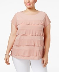 Charter Club Plus Size Tiered Ruffled Top Only At Macy's Dusted Nude