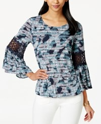 Alfani Petite Printed Bubble Hem Blouse Only At Macy's