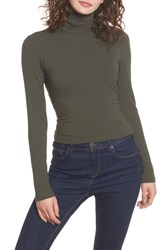 Afrm Women's Mira Lace Up Turtleneck Olive