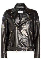 Red Valentino Embroidered Leather Biker Jacket Black