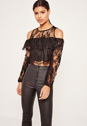 Missguided Lace Overlay Crop Top Black