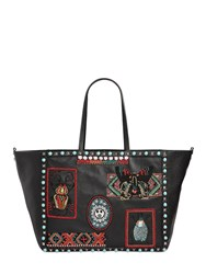 Valentino Medium Beaded Patches Leather Tote Bag
