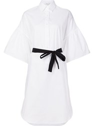 Tome Flared Sleeves Shirt Dress White
