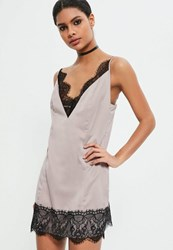 Missguided Grey Lace Trim Satin Mini Dress Taupe