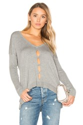 Central Park West Palm Springs V Neck Sweater Gray