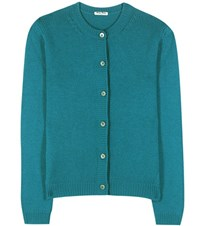 Miu Miu Cashmere Knitted Cardigan Turquoise