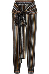 Haney Colette Metallic Striped Silk Blend Lame Tapered Pants Us2