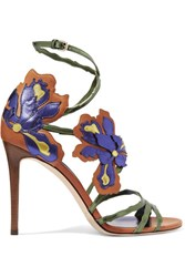 Jimmy Choo Lolita Appliqued Metallic Leather Sandals Purple