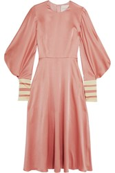 Roksanda Ilincic Hillevi Hammered Silk Satin Midi Dress Antique Rose