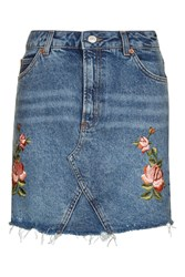 Topshop Tall Rose Embroidered Skirt Mid Stone