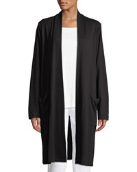 Eileen Fisher Long Open Front Knit Cardigan With Pockets Black