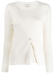 3.1 Phillip Lim Faux Pearl Bar Pin Sweater White