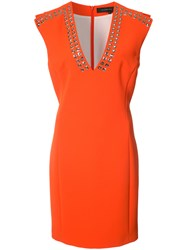 Barbara Bui Eyelet Embellished Crepe Dress Yellow Orange