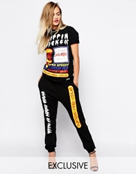Hype X Asos Fats Food Sweatpants With No Added Sugar Print Co Ord Black