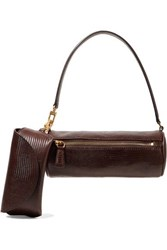 Staud Suzy Lizard Effect Leather Tote Brown