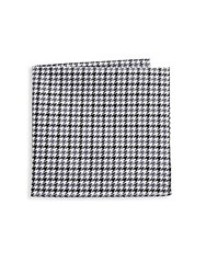 Hickey Freeman Two Tone Hounds Cotton Handkerchief Charcoal