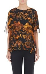 Lanvin Women's Animal And Floral Print Layered Blouse Yellow Size 4 Us