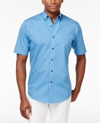 Club Room Men's Leaf Shower Cotton Shirt Only At Macy's Lazulite