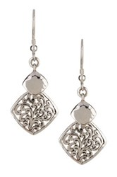 Lois Hill Sterling Silver Signature Cutout Hammered Squares Drop Earrings Metallic