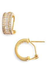 Nina 'S Small Baguette Pave Hoop Earrings Gold White Cz