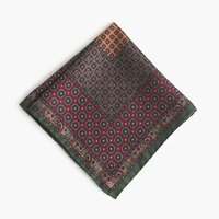 J.Crew Italian Silk Pocket Square In Classic Foulard Autumn Pine