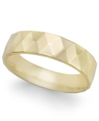 Macy's Geometric Textured Wedding Band In 18K Gold Yellow Gold